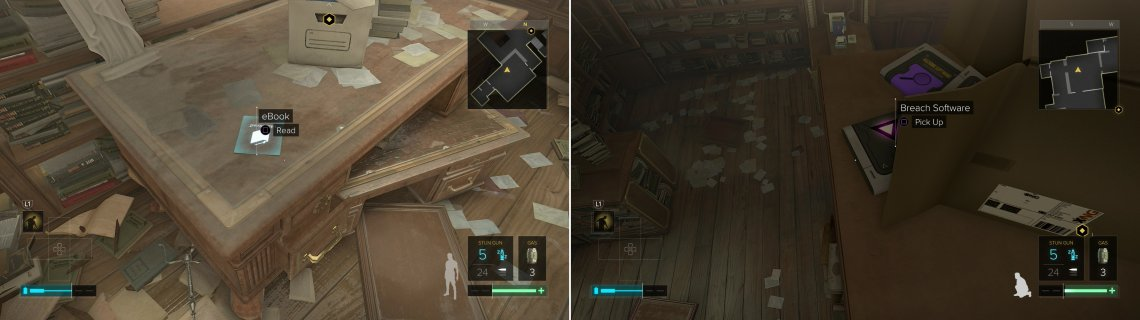 After meeting Koller, the Dvali Thugs will have left and you can pick up several collectibles unmolested (left). The hard-to-find unit of Breach Software #30 is near an over-turned box atop a bookshelf (right).