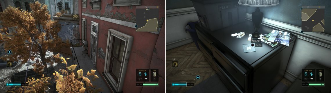 Climb a ladder to reach a billboard, then jump onto a balcony to reach Floss and Mel's apartment (left), inside of which is an eBook (right).