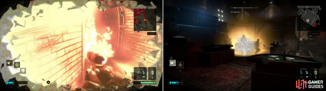 "Hug an explosive with the ""Titan"" augmentation active to earn a trophy/achievement (left). Charging up your Nanoblade to strike tree enemies while the ""Focus"" augmentation is active will earn you another (right)."