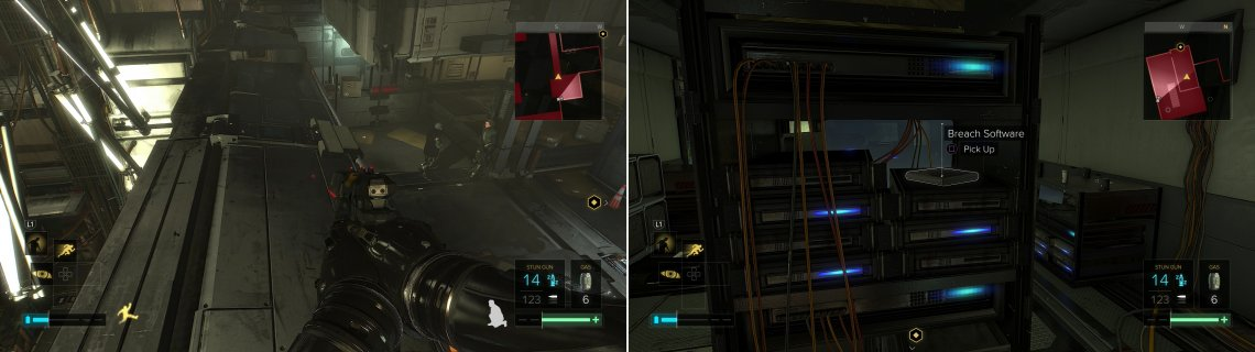 Cross a bridge to reach a server room (left), where you can find Breach Software #6 (right).