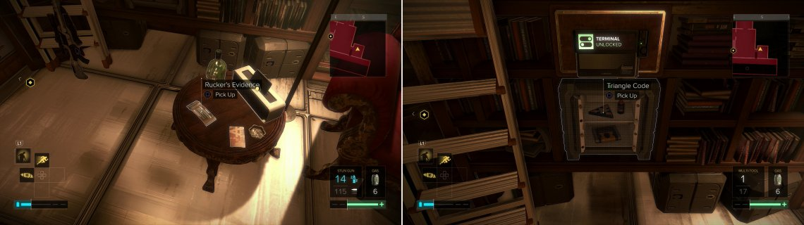 Pick up Rucker's Evidence (left), then loot his safe to find a variety of goodies (right).