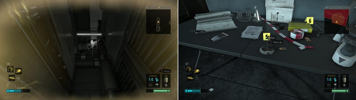 Use Icraus Dash to reach an otherwise out-of-reach ledge (left) then crawl through another vent to reach the DSD (right). Easy as pie with those two augmentations.