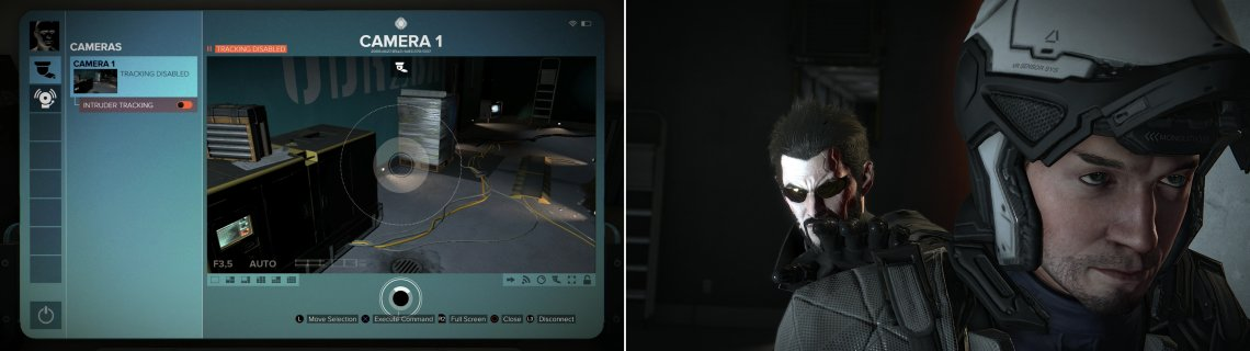 Sneak into a room with a security computer, hack it, and disable the security (left), then take out a patrolling guard (right).