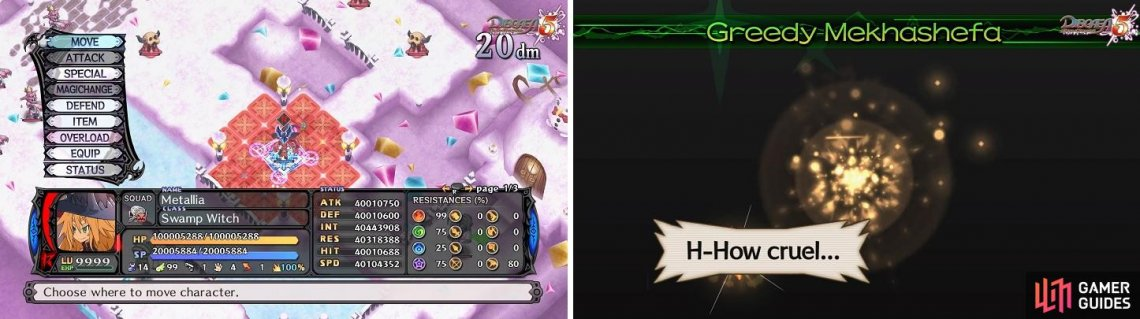 Once the Revenge Gauge (left) is full, certain characters will be able to use their Overload skill (right) to turn the tides of battle.