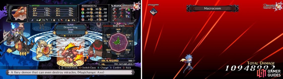 You can unlock the Dragon King monster class at the beginning of this Episode (left). Killia's final Unique Skill, Macrocosm (right), is a powerful single-target move.