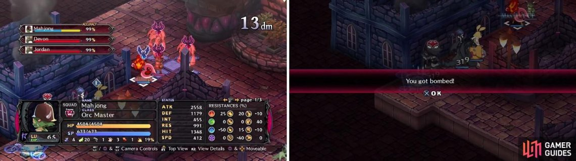 Use skills that hit more than one enemy to whittle down their HP (left). It might be a wise idea to summon your Netherworld to get rid of the effect here (right).