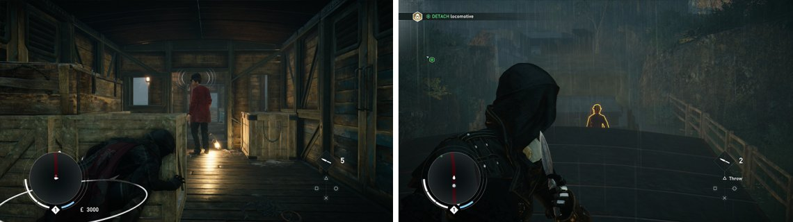 Use whistle to lure enemies into assassinations (left). Head shots with the throwing knives will kill most enemies (right).