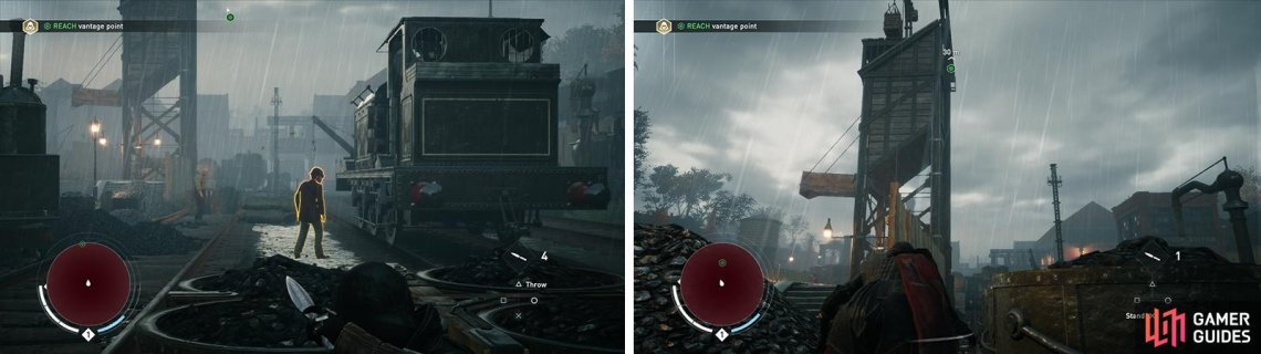 Eliminate the enemies (left) and climb to the vantage point (right)