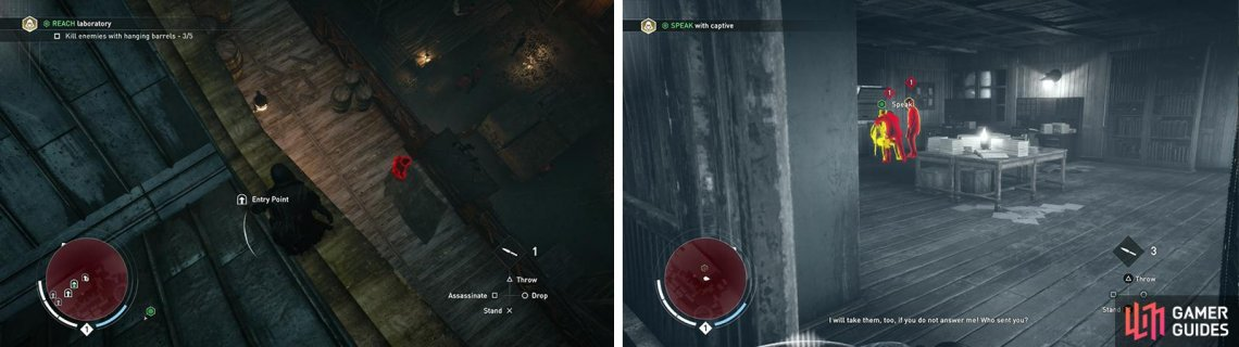 The easiest entry is via a balcony on the eastern side of the building (left). Find the target inside and kill his captors (right).