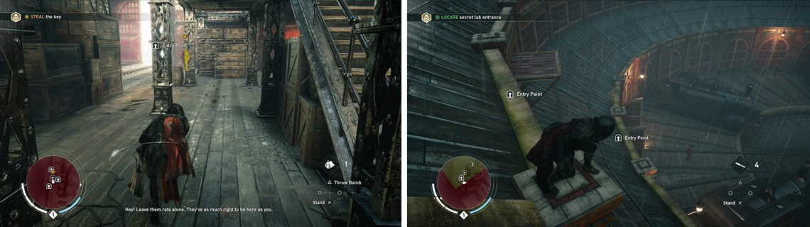 After pickpocketing the key (left) make your way over to the building with the secret lab (right).