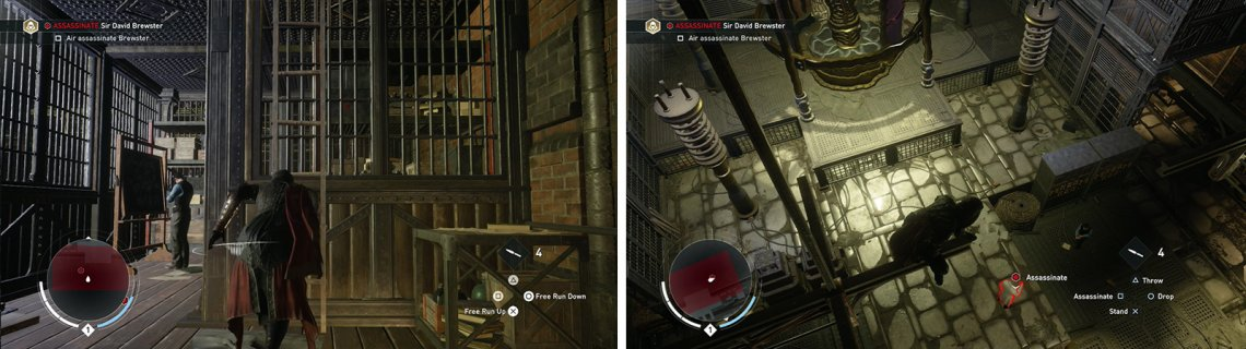 Climb to the top of the room (left) and air assassinate the target from one of the girders (right).