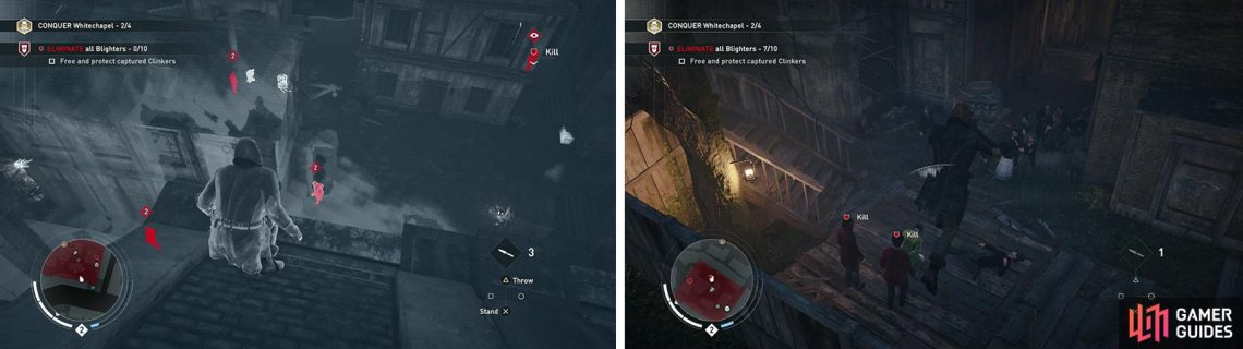 Use Eagle Vision to locate the enemies (left). The Clinker can be found on the southern side of the area (right).