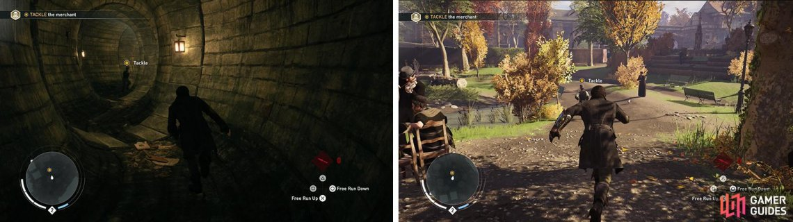 Chase the target through the sewer (left) and tackle him when you catch him in the park (right).