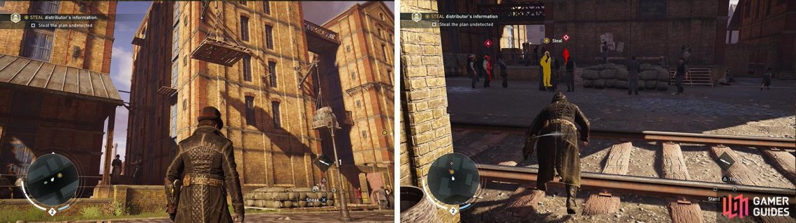 Run through the side alley (left). Sneak up and pickpocket the plans from the target (right).
