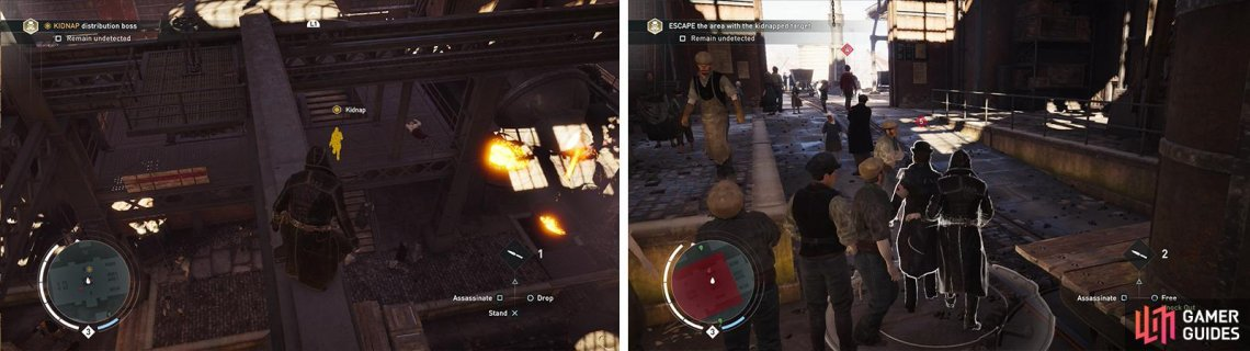 Use Eagle Vision to locate the target (left). Once you have kidnapped him, escort him out of the factory (right).