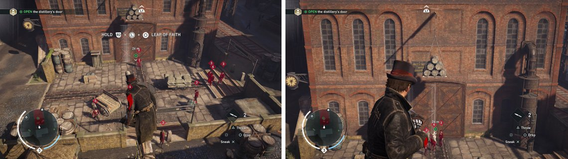 There are multiple enemies at the entrance (left) wait for them to gather beneath the barrels to kill three at once (right).