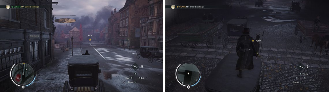 Chase after the target (left) and then jump across and hijaclk the carriage (right).