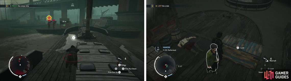 Chase the boat along the docks (left). Kill those aboard before looting the chest (right).
