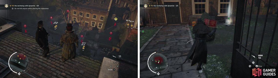 Use Eagle Vision to tag the enemies guarding the building (left). Place the crates on the objective markers provided (right).