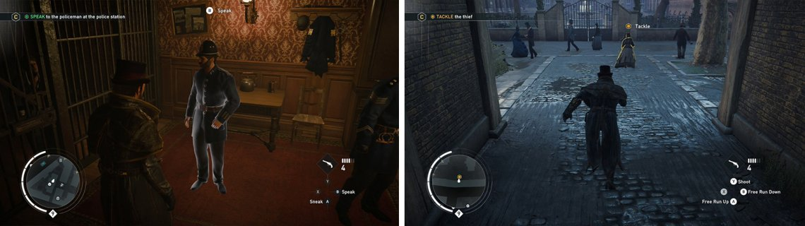 Speak with the policeman (left). Chase down and tackle the thief (right).
