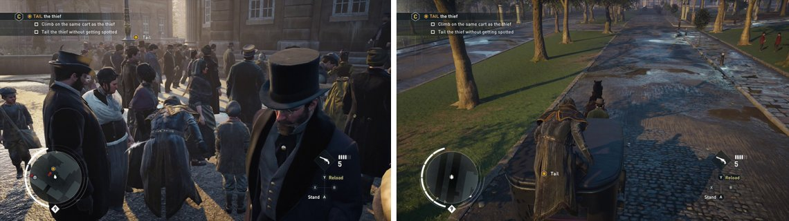 Tail the target through the crowd (left). Hop onto the carriage that he gets into (right) for the optional objective.