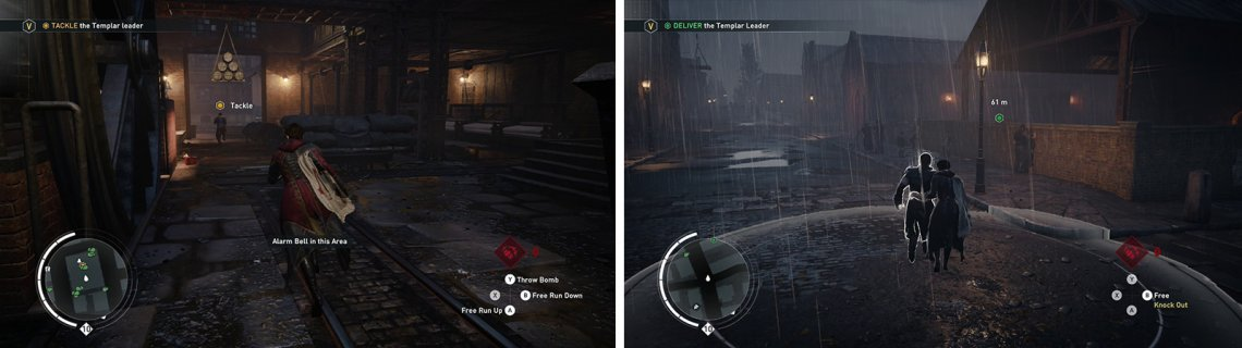 Chase down the target and avoid the explosives (left). Once you have captured him, escort him back to the dock (right).