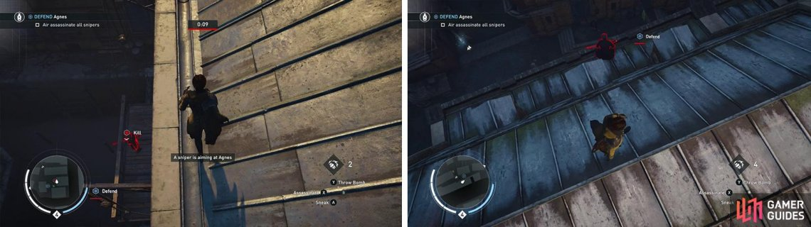 You'll need to climb up and air assassinate each of the Snipers for the optional objective. Sniper 1 (left) and Sniper 4 (right) pictured.