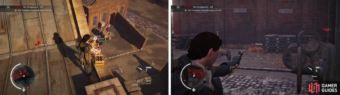 Use the dynamite on the rooftop to kill enemies in the courtyard below (left). You can also shoot the dynamite crates to blow them up (right).