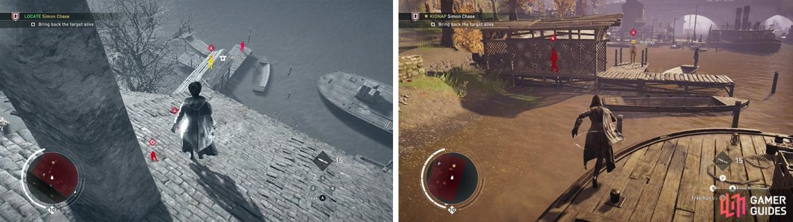 The target can be found at the end of a small pontoon (left). Approach from the waterfront to get at him undetected (right).