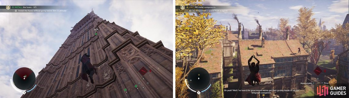 The Rope Launcher can be used to scale buildings (left) or to create ziplines (right).