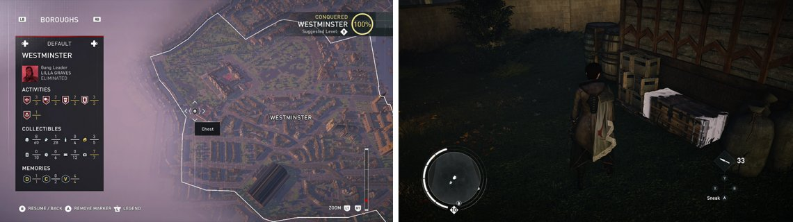 The Treasure Chest icon on the world map (left) and what they look like in-game (right).