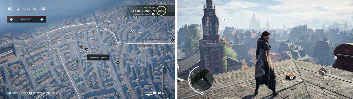 The Secrets of London icon on the world map (left) and what they look like in-game (right).