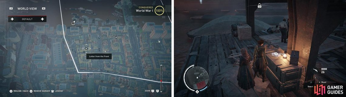 The Letters from the Front icon on the world map (left) and what they look like in-game (right).