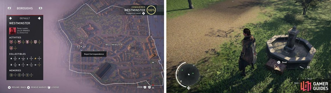 The Royal Correspondence icon on the world map (left) and what they look like in-game (right).