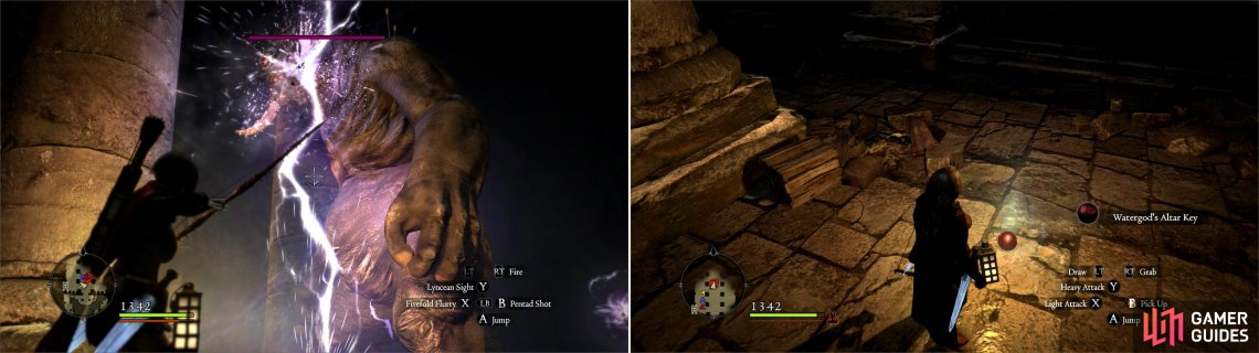 Dispatch a Cyclops in the Offering Chamber (left) then pick up the Watergod's Altar Key (right).