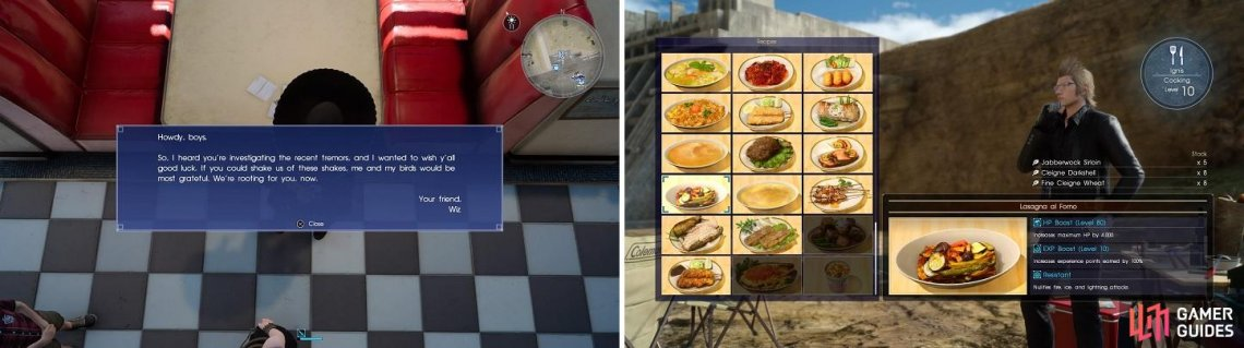 Don't forget to check the table for Wiz's words (left). The correct food can make the battle go faster (right).
