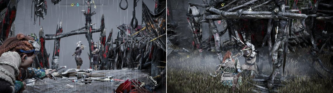 Stalk around the perimeter of the Bandit Camp and put your Sharpshot Bow to deadly use (left). If you want some support, you can always free some prisoners inside the camp (right).