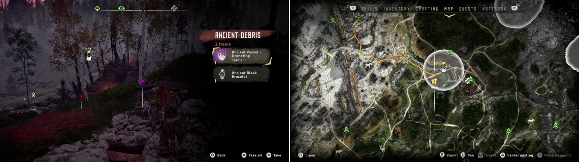 Search a pile of Ancient Debris to obtain the Ancient Vessel - DroneHop (left) at the location indicated on the map (right).