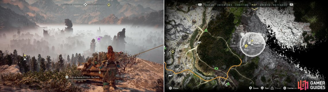 Climb a mountain along the northeastern reach of Devil's Thirst to find the Banuk Artifact - My Claim (left) which be found at the location indicated on the map (right).