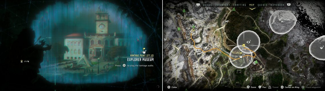 Scan the Vantage - Explorer Museum (left) near the Devil's Thirst Bandit camp, at the location indicated on the map (right).