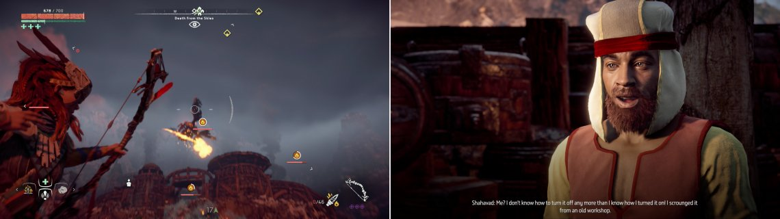 Shoot down the Glinthawks assaulting Pitchcliffs (left) then talk to Shahavad to learn what's luring them (right).