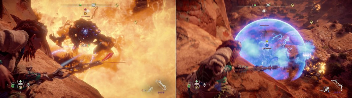 From the ledge overlooking the Corrupted Zone you can easily take out the Tramplers (left) and the Longlegs (right)