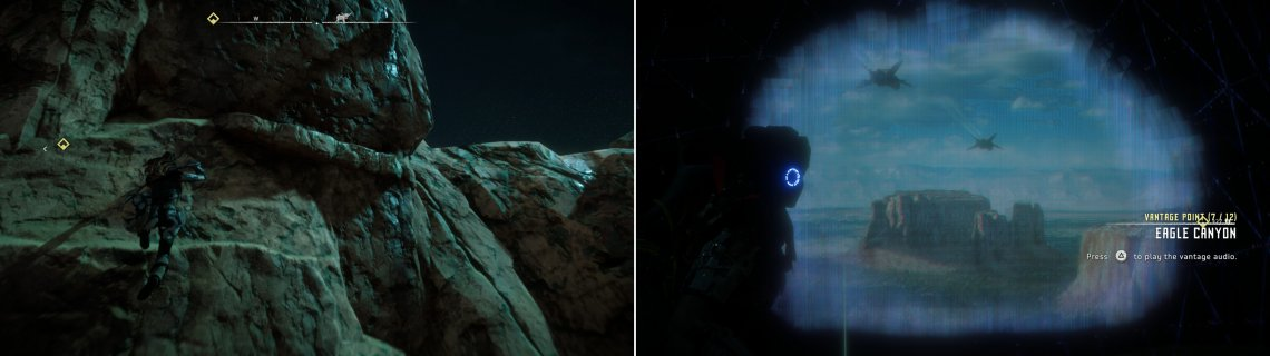 Climb some cliffs along the road to Meridian (left) and use your Focus to scan the Vantage - Eagle Canyon (right).