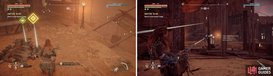 Use the Deathbringer Gun (left) to clear the rest of the area of cultists (right).