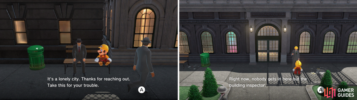 """Sitting"" on the bench next to the lonely guy will reward you with a moon (left). Only an inspector can get into the building (right)."