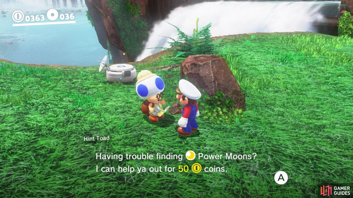Pay 50 Coins to Hint Toad to mark the location of a moon on your map