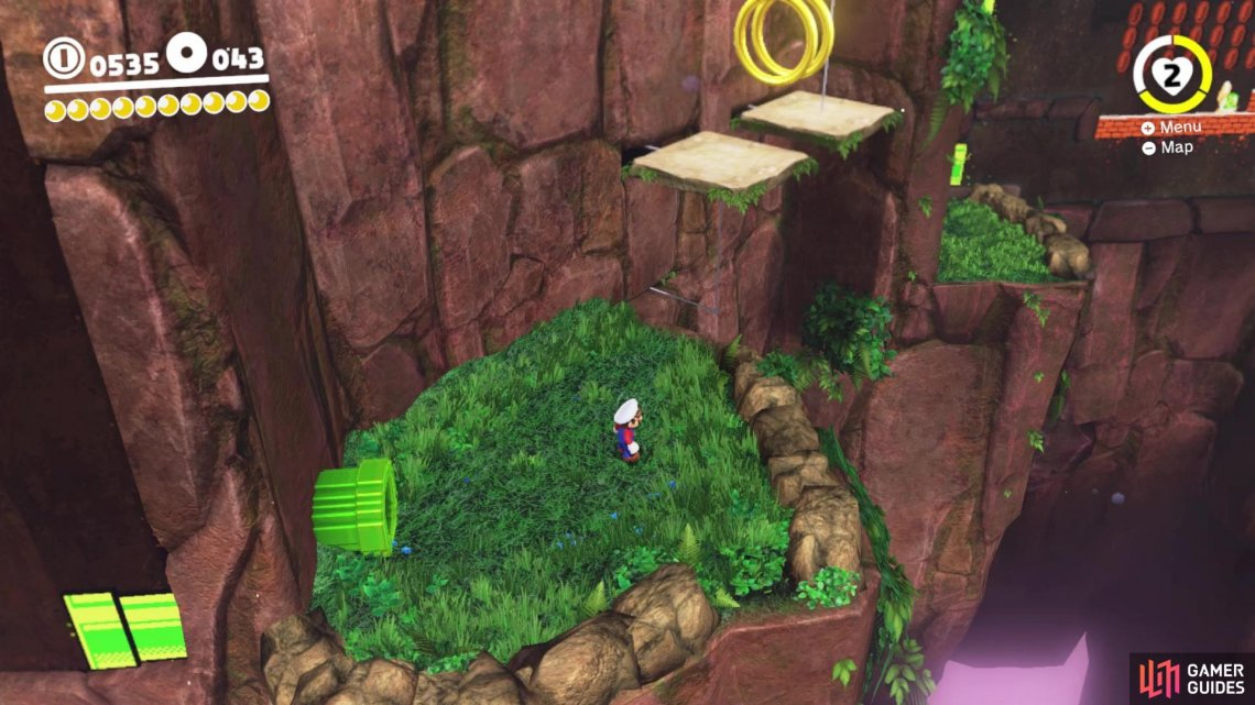 Get to the ledge past the two moving platforms to find a hidden 2D section