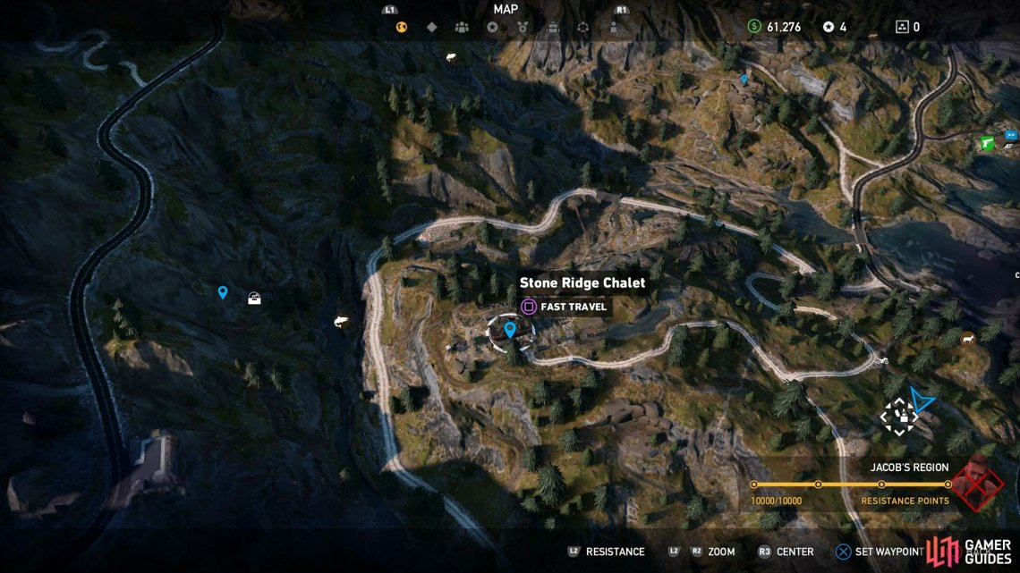 You'll need to travel southeast from Stone Ridge Chalet to reach the bunker