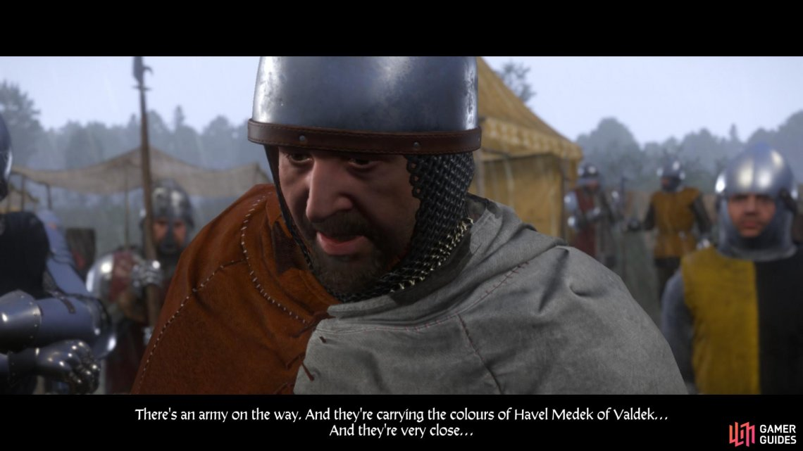 After you have seen the trebuchet in action, a solider will appear with urgent news. Istvan Toth has summoned reinforcements, and they will arrive very soon.