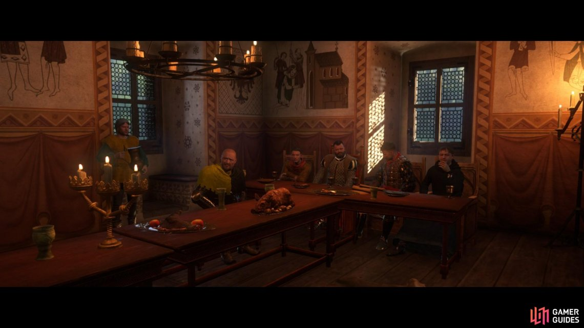In the last cut scene of the chapter you will meet Sir Hans Capon, Sir Hanush, Captain Bernard and the parish priest of Rattay.